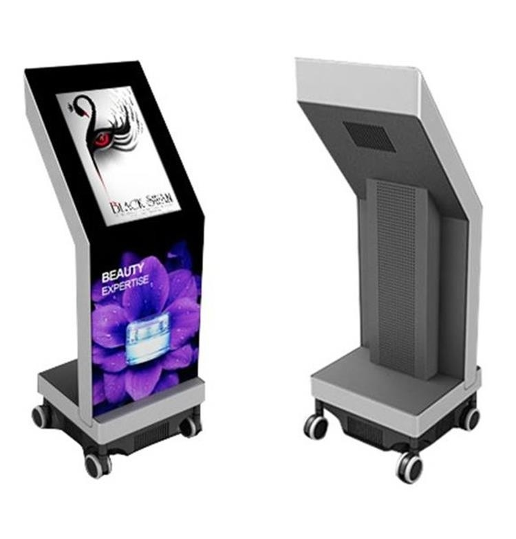 Exhibition Booth Signage : Movable inch touching floor standing digital signage with