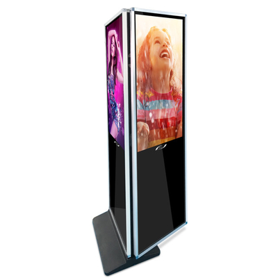 China 43 Inch 1080P Touch Screen Kiosk Monitor Floor Standing Dual Screen PC Kiosk With IR Touch factory