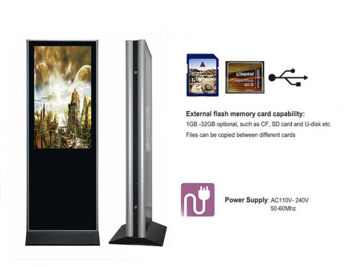 55 Inch Floor Standing Double Sided Digital Signage Kiosk Totem With Advertising Display
