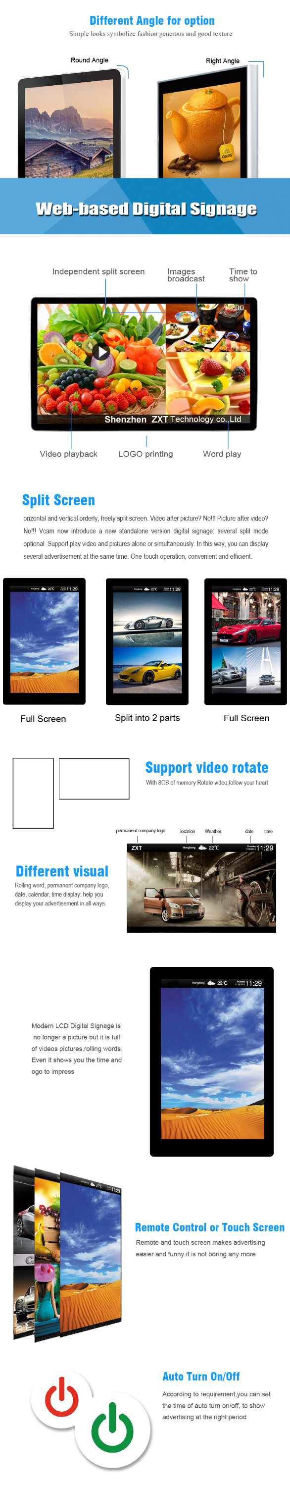 Video Player Lcd Advertising Display Screen , Digital Signage Lcd Advertising Display