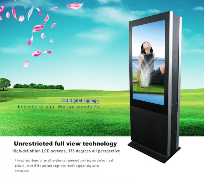Double Side Screen Free Standing Lcd Display , Ultrathin 55 Inch Large Touch Screen Kiosk