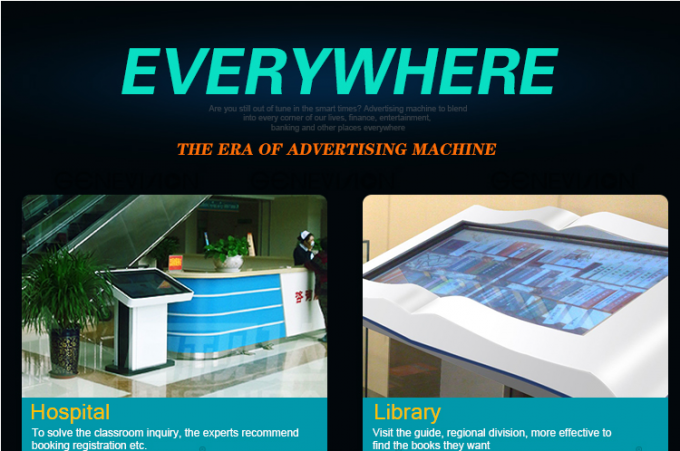 Floor Standing Viewpoint Interactive Kiosks , Commercial Touch Screen Display For Library