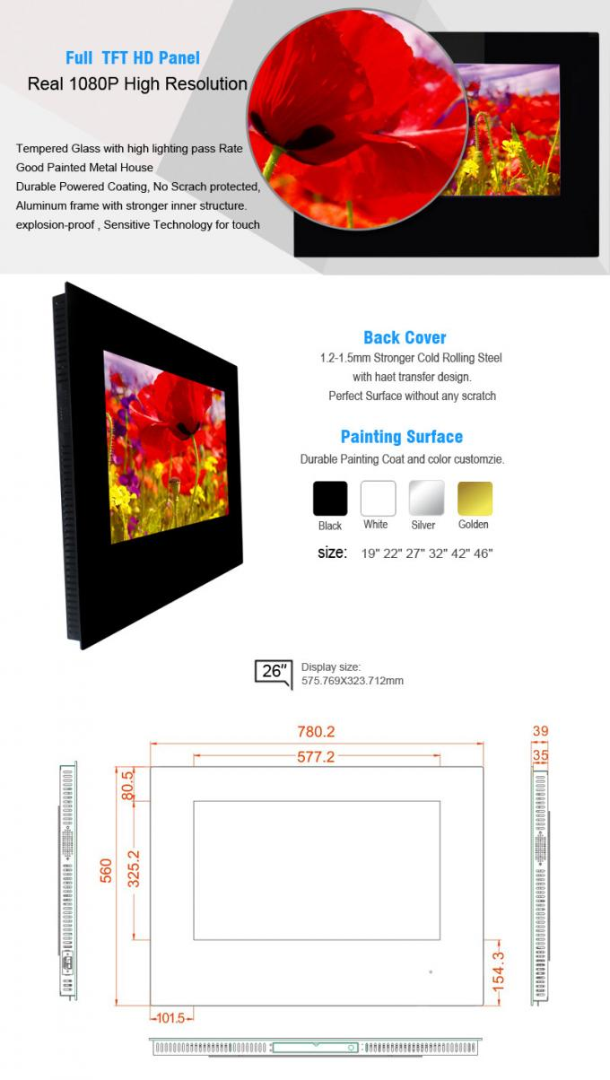 22 Inch Portable Wall Mount Lcd Display Metro Advertising Billboard Network Advertising Player