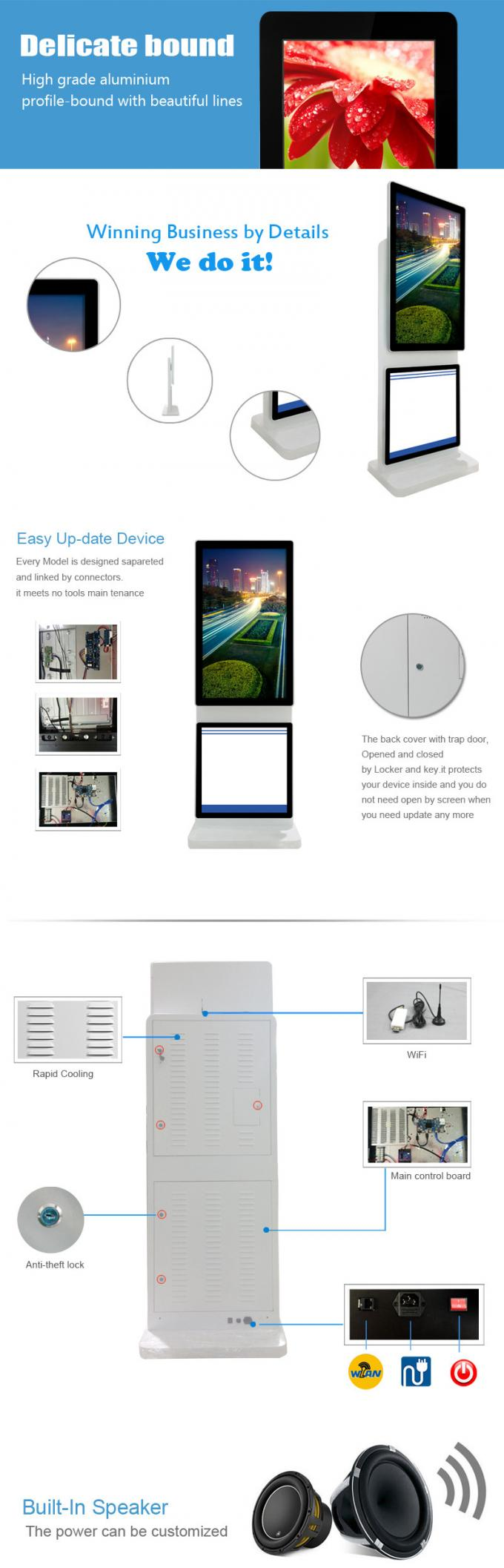 Rotating Digital Poster Touch Screen Monitor Floor Stand , High Resolution Digital Kiosk Display