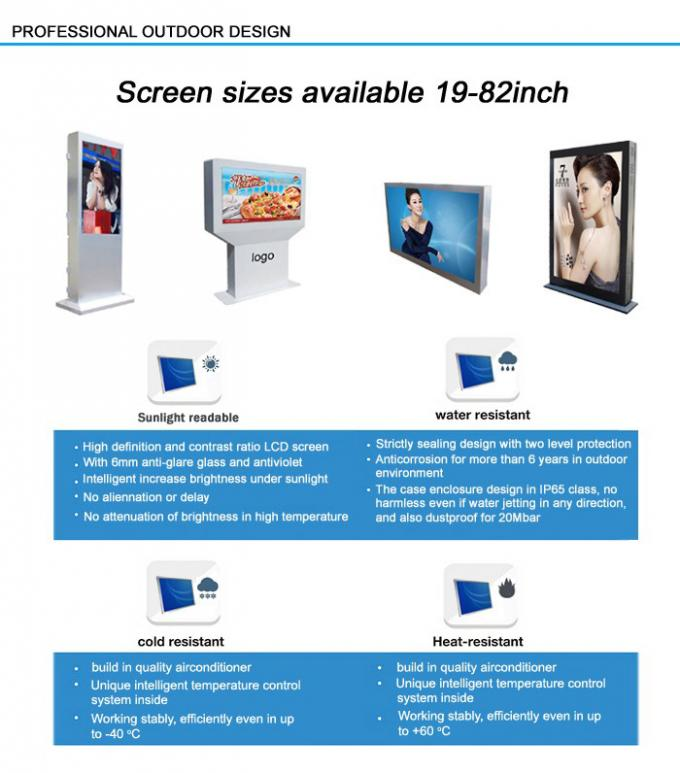Vertical Lcd Display Outdoor Information Kiosk , High Brightness Freestanding Digital Poster