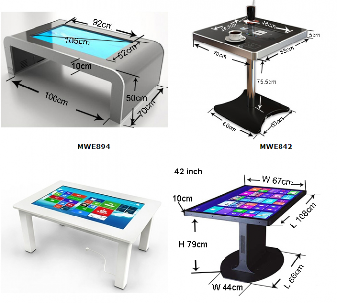 43 Inch Restaurant Multi Touch Screen Table IP65 Waterproof All In One Pc 2000 : 1 Contrast Ratio