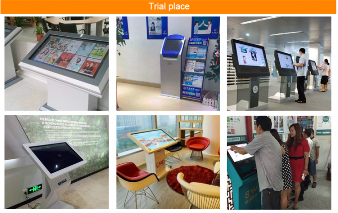 Movable 21.5 Inch Touching Floor Standing Digital Signage With Calendar Exhibition Booth